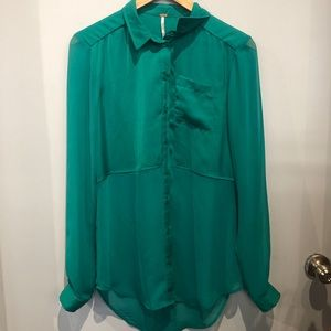 Green Sheer Long Sleeve Button Up FP Blouse